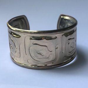 Jewelry - Modernist Embossed Silver Tone Cuff Bracelet